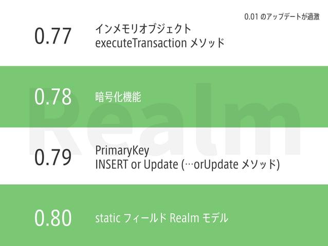 Realm0.78 0.77 0.79 0.80 インメモリオブジェクト executeTransaction メソッド 暗号化機能 PrimaryKey INSERT or Update (…orUpdate メソッド) static フィー...