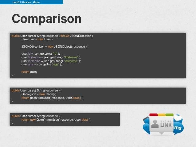 Helpful libraries - GsonComparisonpublic User parse( String response ) throws JSONException {        User user = new User(...