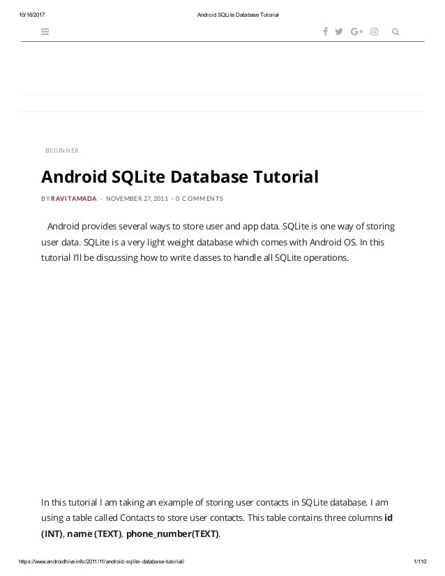Android sq lite database tutorial
