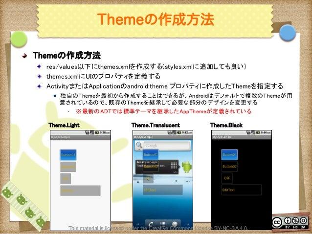 Ⅶ - 110 Themeの作成方法 ! Themeの作成方法 ! res/values以下にthemes.xmlを作成する(styles.xmlに追加しても良い) ! themes.xmlにUIのプロパティを定義する ! Activit...