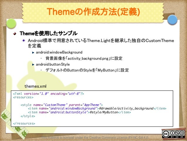Ⅶ - 112 Themeの作成方法(定義) ! Themeを使用したサンプル ! Android標準で用意されているTheme.Lightを継承した独自のCustomTheme を定義 ! android:windowBackground...