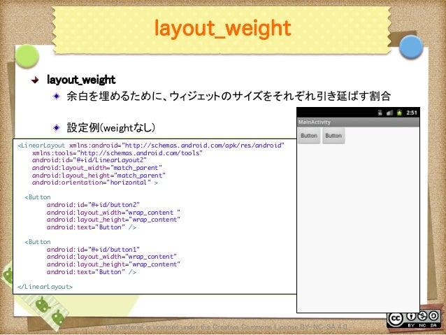 Ⅶ - 18 layout_weight ! layout_weight ! 余白を埋めるために、ウィジェットのサイズをそれぞれ引き延ばす割合 ! 設定例(weightなし) This material is licensed under...