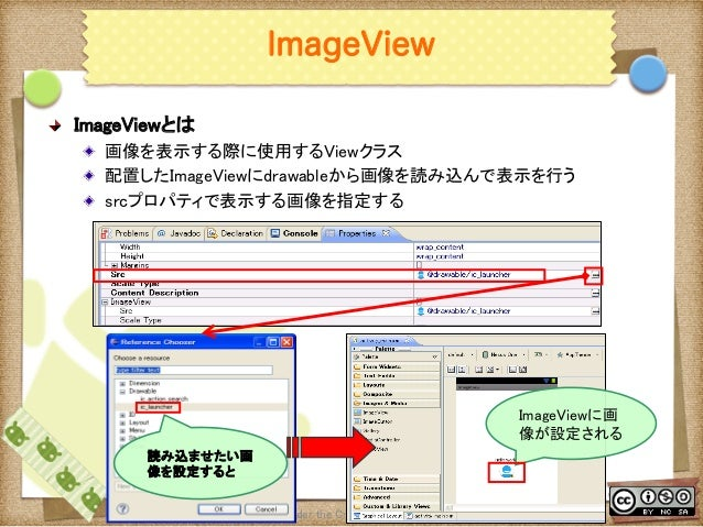 Ⅶ - 24 ImageView ! ImageViewとは ! 画像を表示する際に使用するViewクラス ! 配置したImageViewにdrawableから画像を読み込んで表示を行う ! srcプロパティで表示する画像を指定する T...