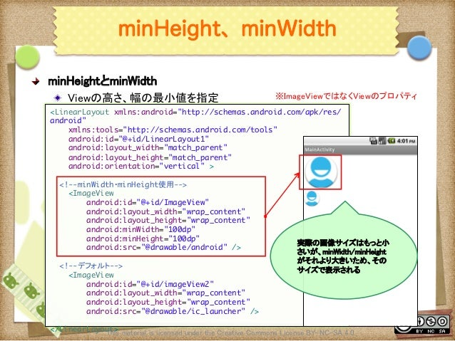 Ⅶ - 26 minHeight、minWidth ! minHeightとminWidth ! Viewの高さ、幅の最小値を指定 This material is licensed under the Creative Commons L...
