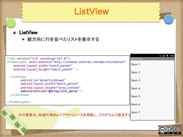 Ⅶ - 39 ListView ! ListView ! 縦方向に行を並べたリストを表示する This material is licensed under the Creative Commons License BY-NC-SA 4.0...