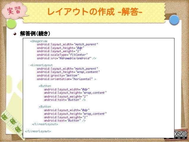 Ⅶ - 49 レイアウトの作成 -解答- ! 解答例(続き) This material is licensed under the Creative Commons License BY-NC-SA 4.0.  <ImageView a...