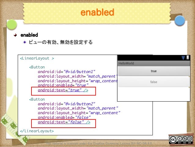 Ⅶ - 66 enabled ! enabled ! ビューの有効、無効を設定する This material is licensed under the Creative Commons License BY-NC-SA 4.0.  <...