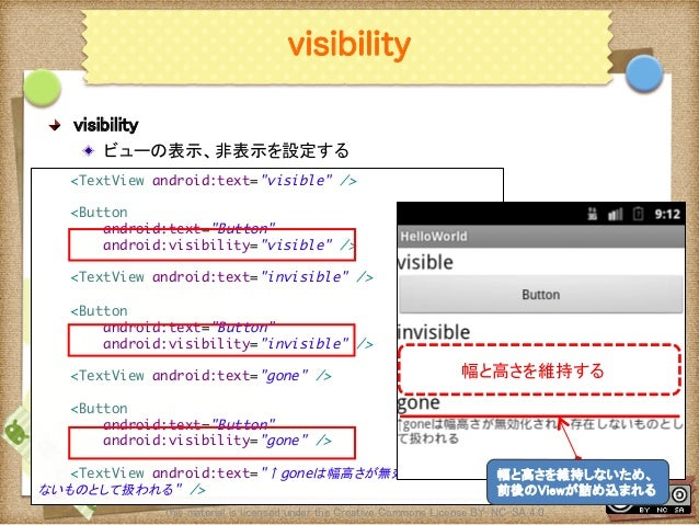 Ⅶ - 67 visibility ! visibility ! ビューの表示、非表示を設定する This material is licensed under the Creative Commons License BY-NC-SA 4...