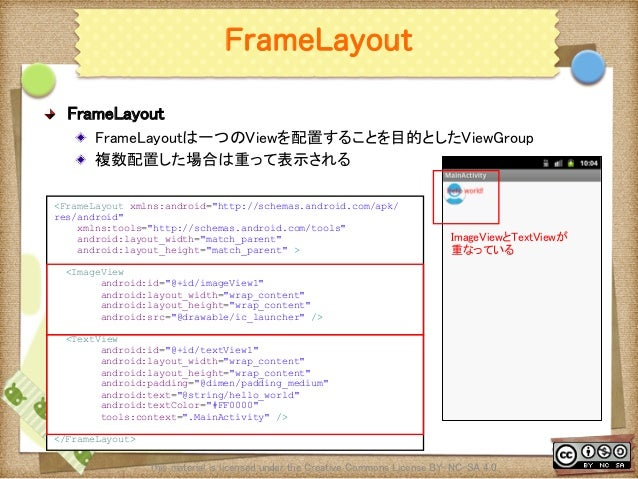 Ⅶ - 82 FrameLayout ! FrameLayout ! FrameLayoutは一つのViewを配置することを目的としたViewGroup ! 複数配置した場合は重って表示される This material is licen...