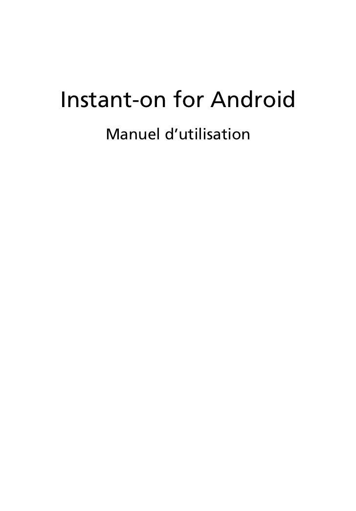 Instant-on for Android    Manuel d'utilisation