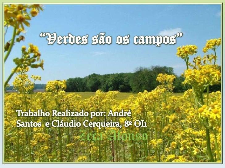 """Zeca Afonso<br />""""Verdes são os campos""""<br />Trabalho Realizado por: André Santos  e Cláudio Cerqueira, 8º OI1<br />"""