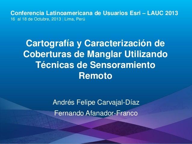 Conferencia Latinoamericana de Usuarios Esri – LAUC 2013 16 al 18 de Octubre, 2013 | Lima, Perú  Cartografía y Caracteriza...