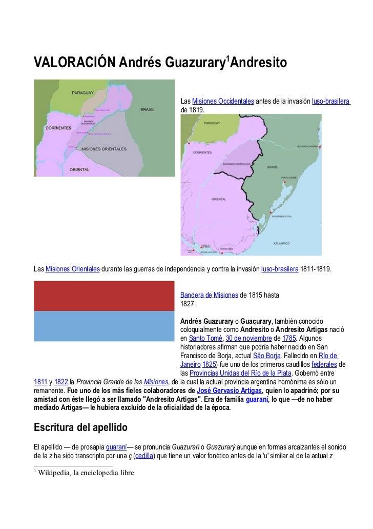 VALORACIÓN Andrés Guazurary1Andresito                                                       Las Misiones Occidentales ante...