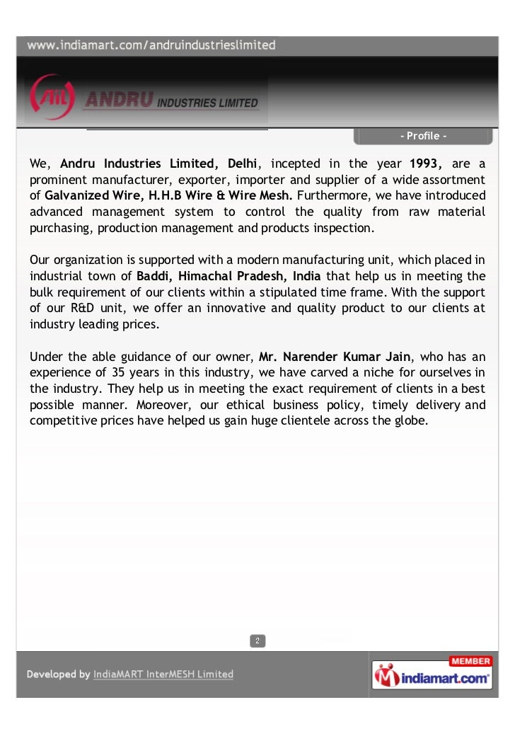 - Profile -We, Andru Industries Limited, Delhi, incepted in the year 1993, are aprominent manufacturer, exporter, importer...