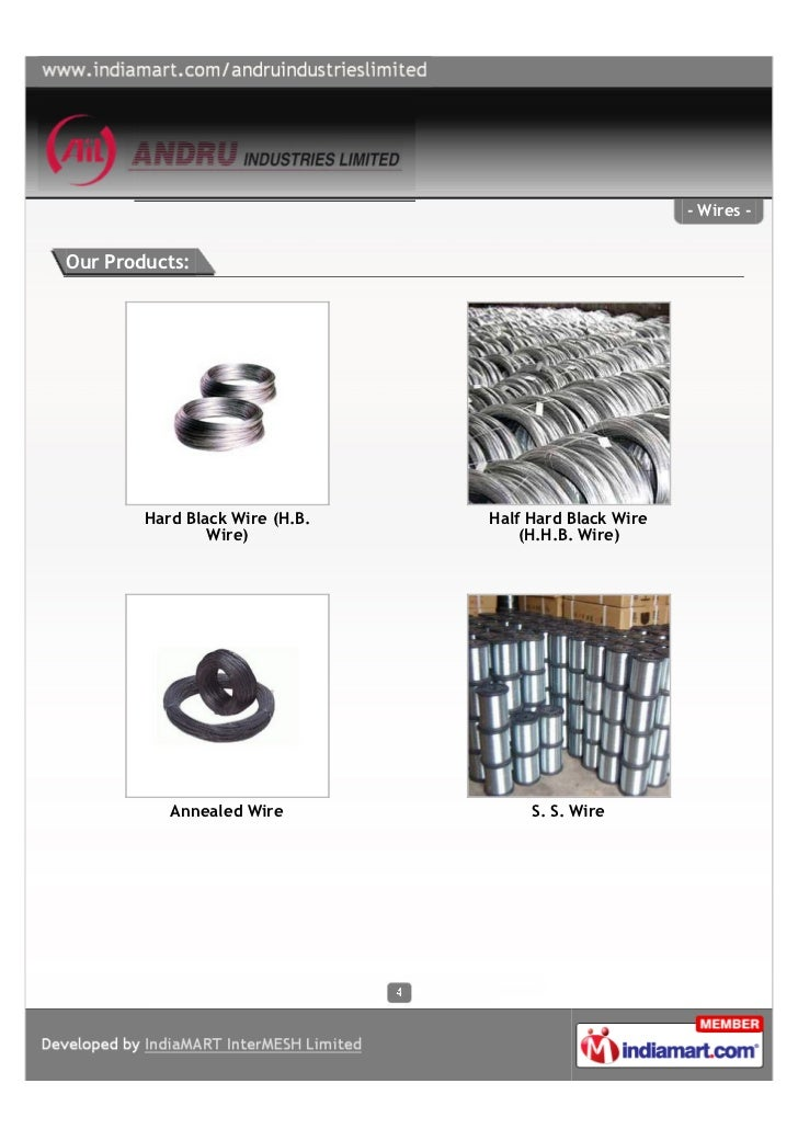 - Wires -Our Products:        Hard Black Wire (H.B.   Half Hard Black Wire                Wire)               (H.H.B. Wire...