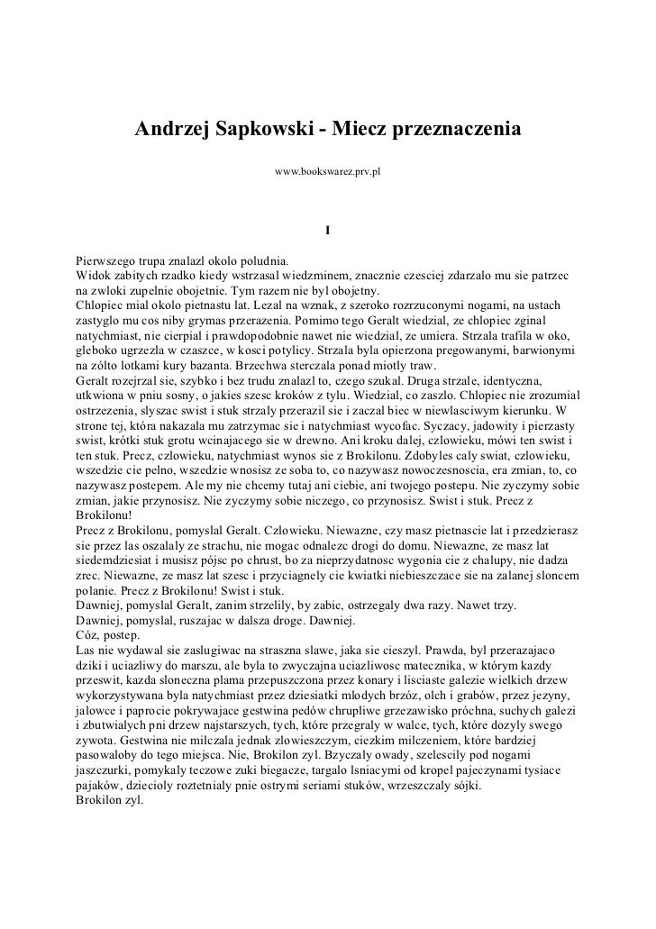 Andrzej Sapkowski - Miecz przeznaczenia                                      www.bookswarez.prv.pl                        ...