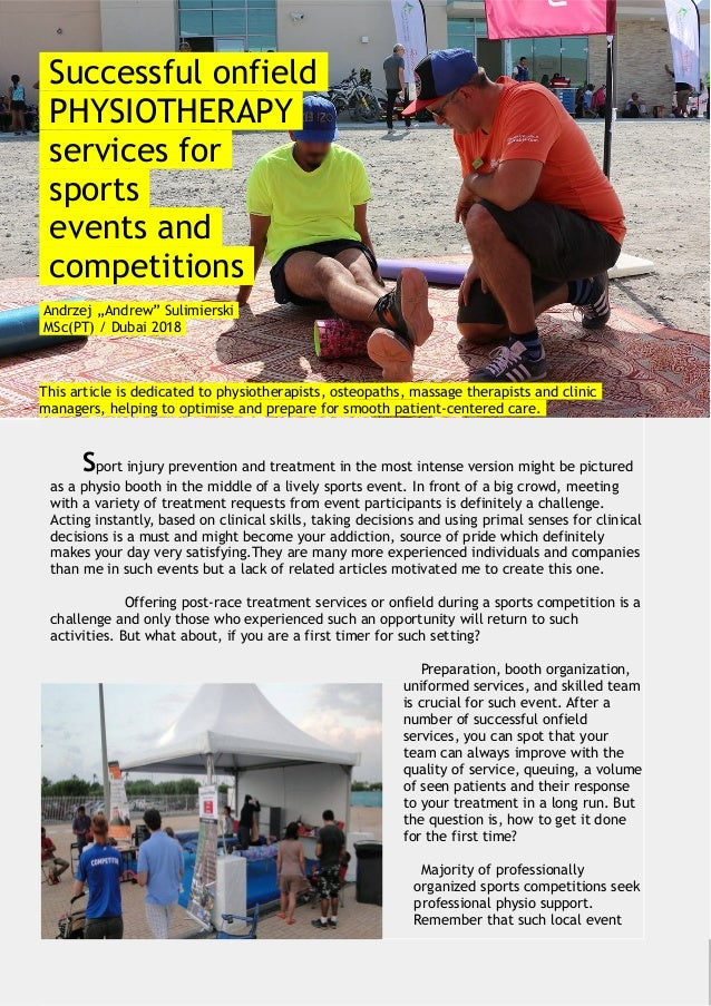 Successful onfield PHYSIOTHERAPY services for sports events and comp…