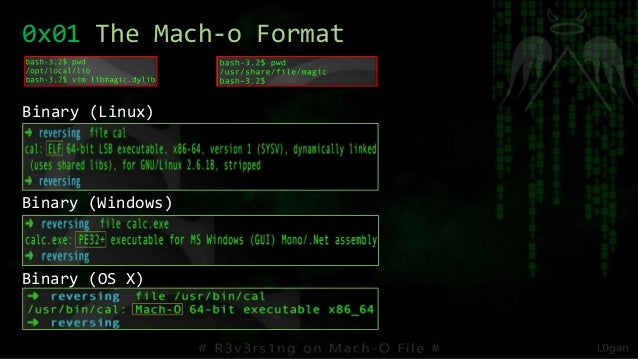 Binary (Linux) Binary (Windows) Binary (OS X) 0x01 The Mach-o Format