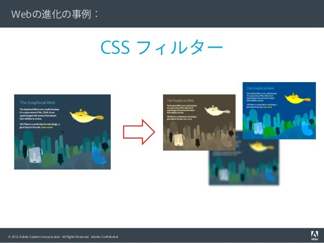 © 2012 Adobe Systems Incorporated. All Rights Reserved. Adobe Confidential. CSS フィルター Webの進化の事例: