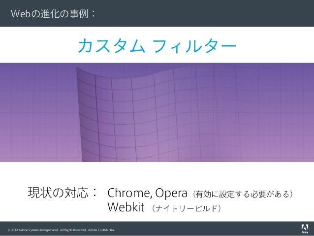 © 2012 Adobe Systems Incorporated. All Rights Reserved. Adobe Confidential. カスタム フィルター Webの進化の事例: 現状の対応: Chrome, Opera(有効に設...