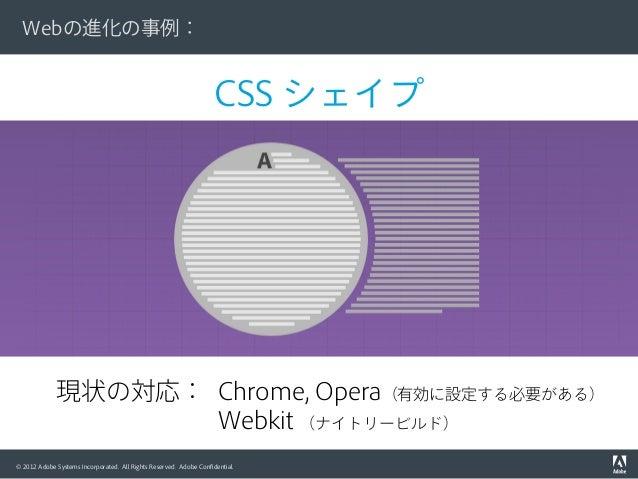 © 2012 Adobe Systems Incorporated. All Rights Reserved. Adobe Confidential. CSS シェイプ Webの進化の事例: 現状の対応: Chrome, Opera(有効に設定す...