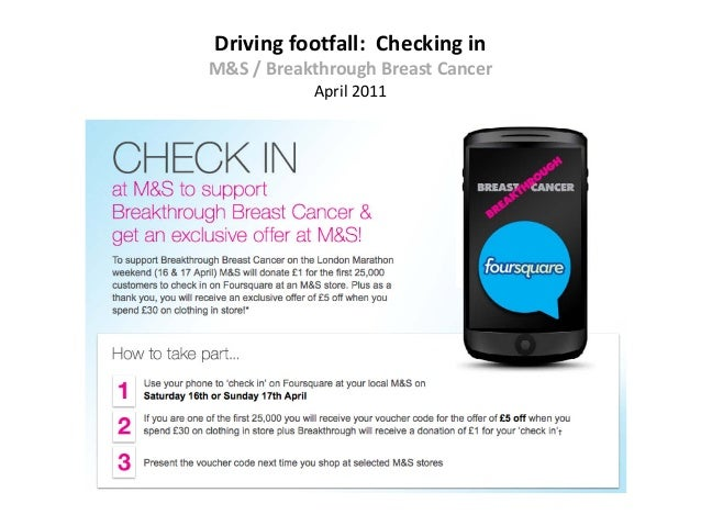 Driving footfall: Checking inM&S / Breakthrough Breast Cancer           April 2011