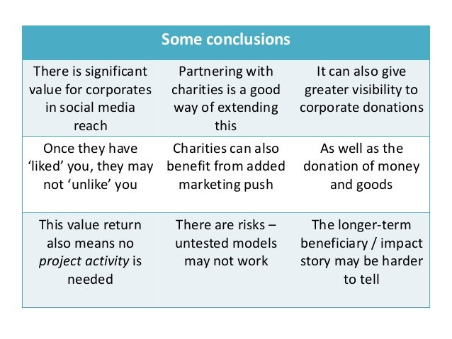 Some conclusions  There is significant  Partnering with     It can also givevalue for corporates charities is a good  grea...