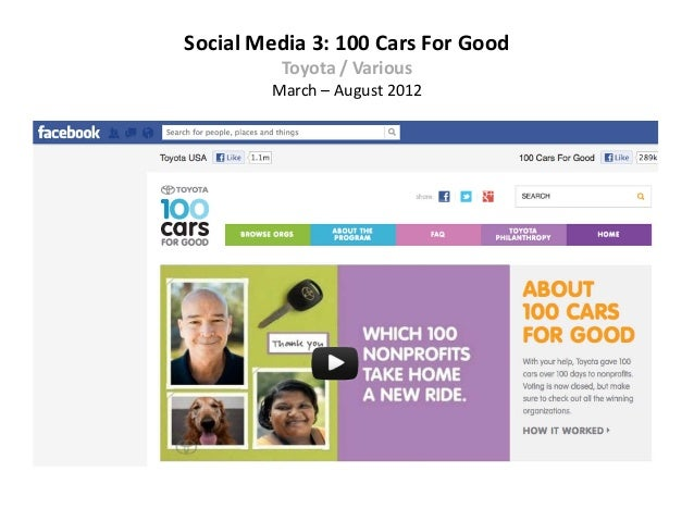 Social Media 3: 100 Cars For Good         Toyota / Various        March – August 2012