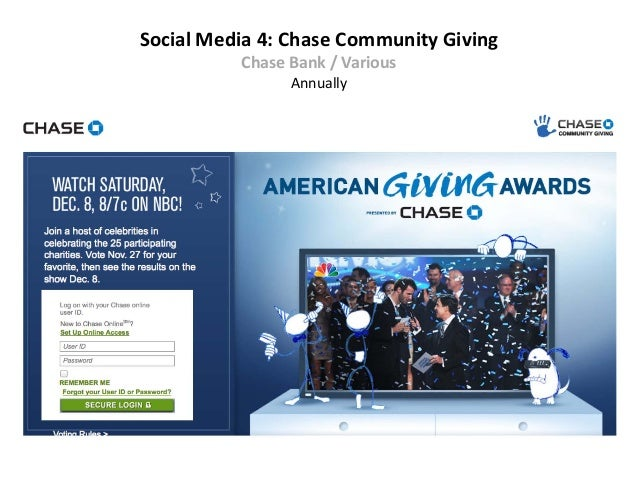 Social Media 4: Chase Community Giving          Chase Bank / Various                Annually