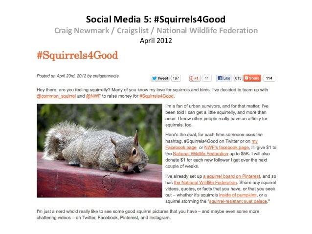 Social Media 5: #Squirrels4GoodCraig Newmark / Craigslist / National Wildlife Federation                       April 2012