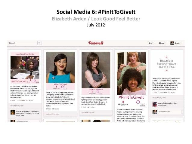 Social Media 6: #PinItToGiveItElizabeth Arden / Look Good Feel Better               July 2012