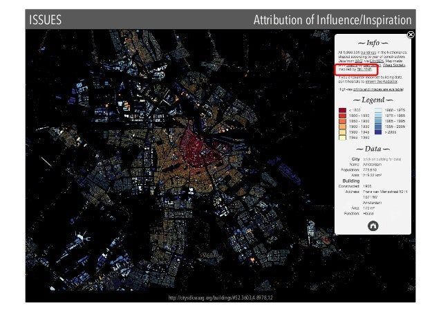 ISSUES  Attribution of Influence/Inspiration  http://citysdk.waag.org/buildings/#52.3603,4.8978,12