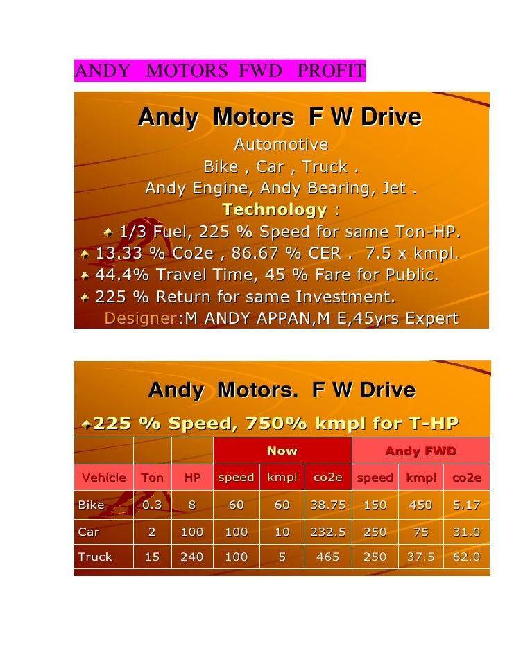 ANDY MOTORS FWD PROFIT          Andy Motors F W Drive                  Automotive              Bike , Car , Truck .       ...