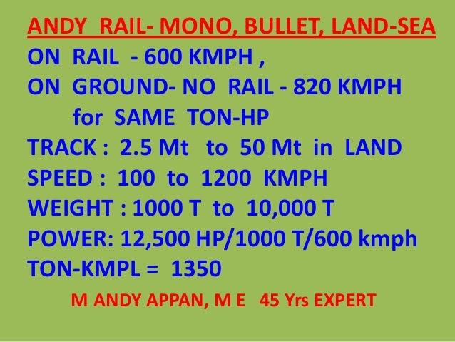 ANDY RAIL- MONO, BULLET, LAND-SEAON RAIL - 600 KMPH ,ON GROUND- NO RAIL - 820 KMPHfor SAME TON-HPTRACK : 2.5 Mt to 50 Mt i...