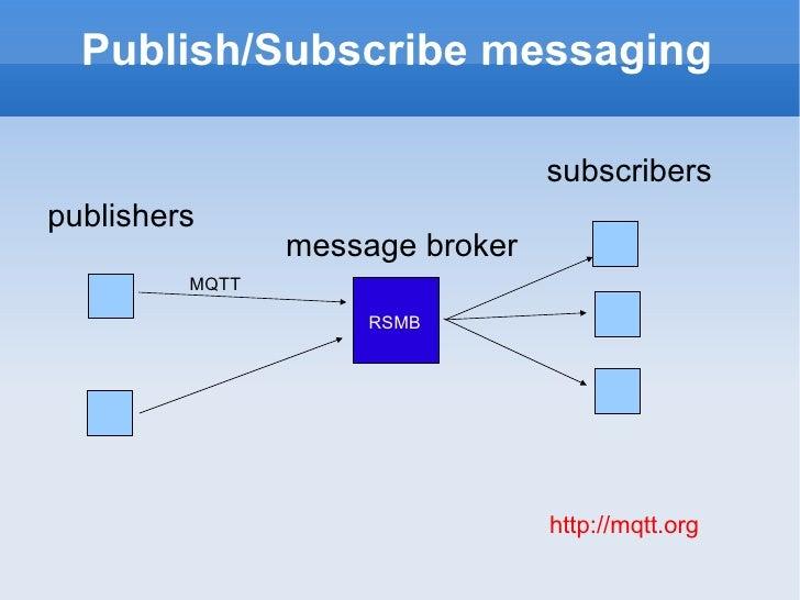 Publish/Subscribe messaging publishers subscribers message broker RSMB MQTT http://mqtt.org