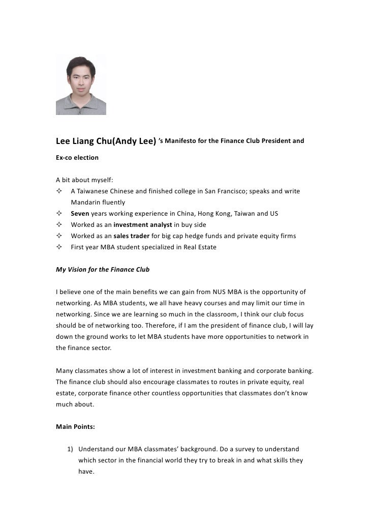 Lee Liang Chu(Andy Lee) 's Manifesto for the Finance Club President andEx-co electionA bit about myself: A Taiwanese Chin...