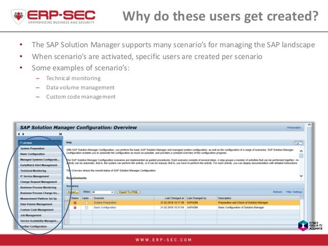 Why do these users get created? • The SAP Solution Manager supports many scenario's for managing the SAP landscape • When ...