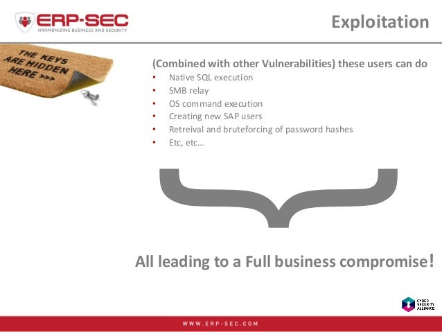 Exploitation (Combined with other Vulnerabilities) these users can do • Native SQL execution • SMB relay • OS command exec...