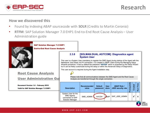 Research How we discovered this • Found by indexing ABAP sourcecode with SOLR (Credits to Martin Ceronio) • RTFM: SAP Solu...