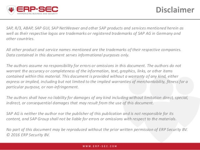 SAP, R/3, ABAP, SAP GUI, SAP NetWeaver and other SAP products and services mentioned herein as well as their respective lo...