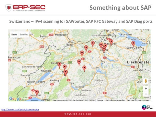 Switzerland – IPv4 scanning for SAProuter, SAP RFC Gateway and SAP Diag ports Something about SAP http://zonums.com/iptool...