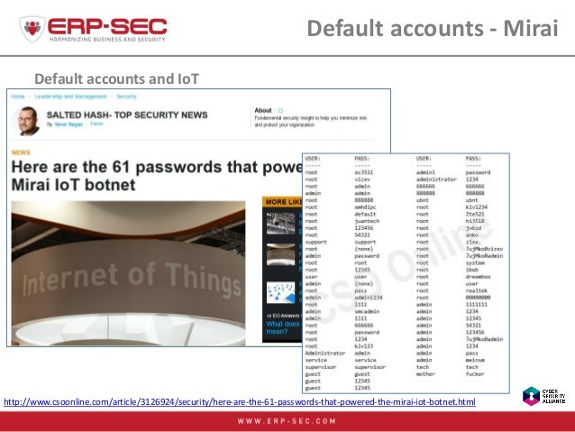 Default accounts and IoT Default accounts - Mirai http://www.csoonline.com/article/3126924/security/here-are-the-61-passwo...