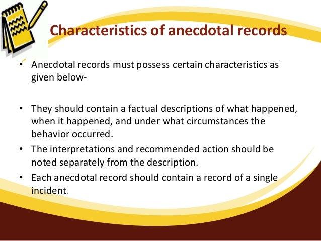 anecdotal records essay