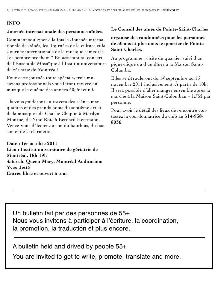 bulletin des rencontres PANAROMA - automne 2011- Voyages et spiritualité et Les Bienfaits du bénévolatINFOJournée internat...