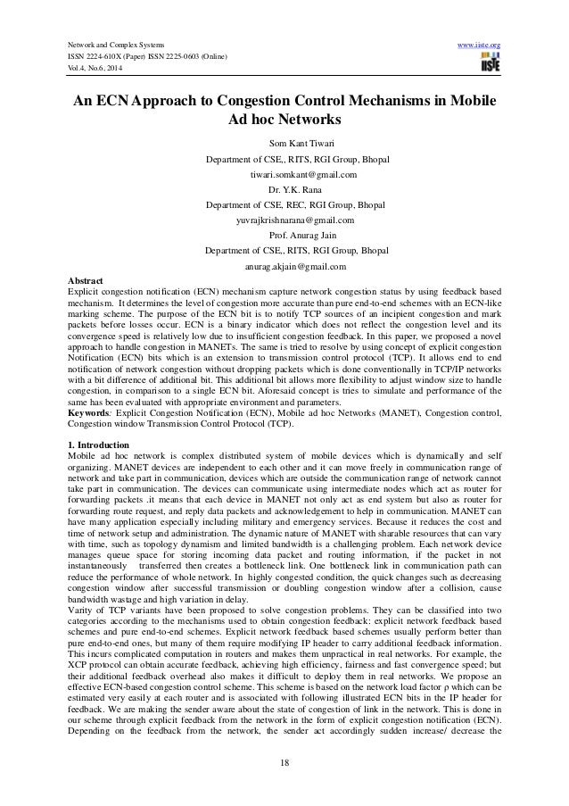 Network and Complex Systems www.iiste.org ISSN 2224-610X (Paper) ISSN 2225-0603 (Online) Vol.4, No.6, 2014 18 An ECN Appro...
