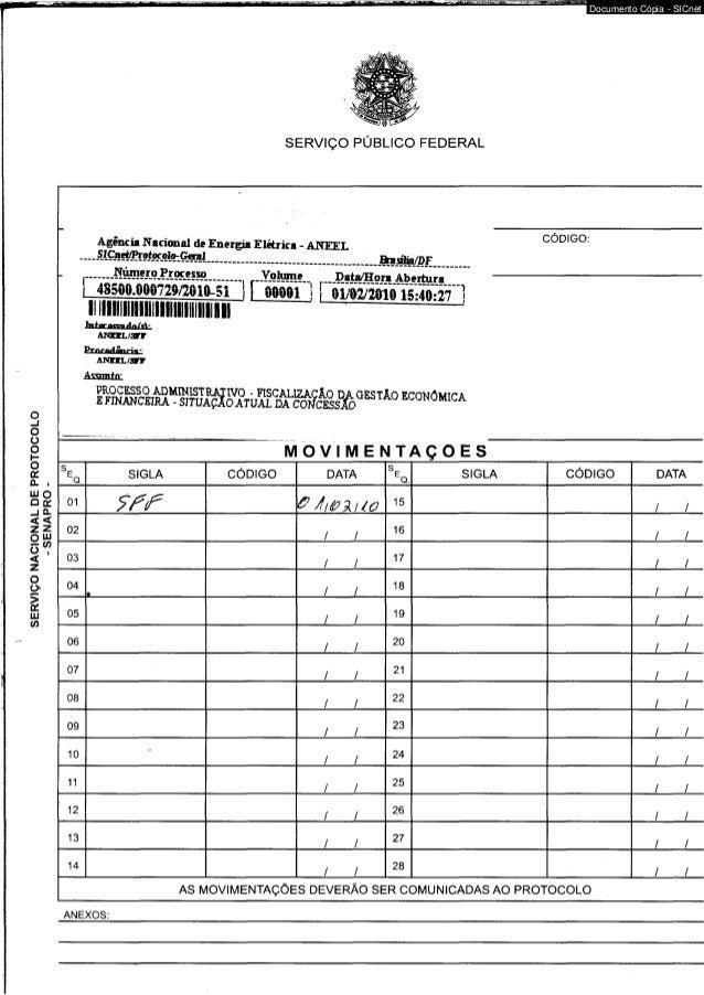 SERVIÇO NACIONAL DE PROTOCOLO  - SENAPRO -  SERVIÇO PÚBLICO FEDERAL  Agência Nacional de Energia Elétrica - ANEEL  .~-&MEE...
