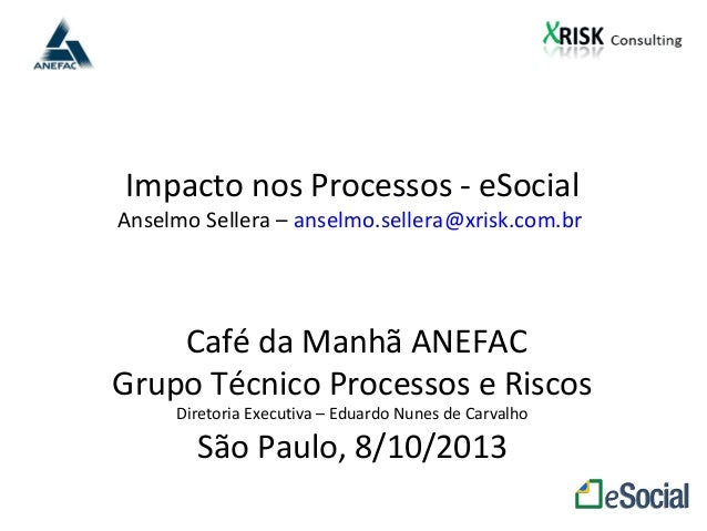 Impacto nos Processos - eSocial Anselmo Sellera – anselmo.sellera@xrisk.com.br Café da Manhã ANEFAC Grupo Técnico Processo...