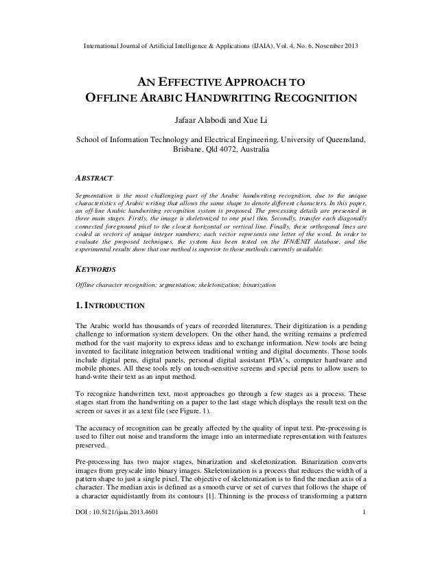 International Journal of Artificial Intelligence & Applications (IJAIA), Vol. 4, No. 6, November 2013  AN EFFECTIVE APPROA...