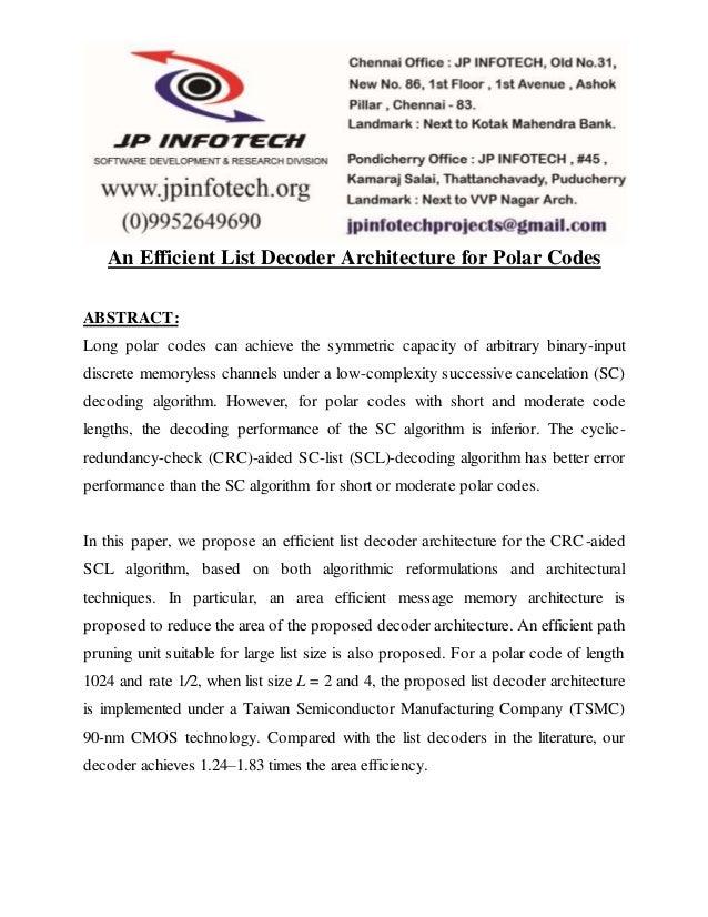 An Efficient List Decoder Architecture for Polar Codes ABSTRACT: Long polar codes can achieve the symmetric capacity of ar...