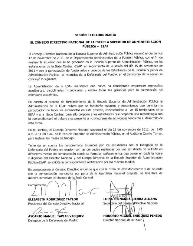 SESIÓN EXTRAORDINARIA  EL CONSEJO DIRECTIVO NACIONAL DE LA ESCUELA SUPERIOR DE ADMINISTRACION PÚBLICA — ESAP  El Consejo D...